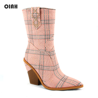 2019 Fashion Cowboy Mid calf Boots Women Shoes Pu Leather Wedge High Heel Boots Pink Plaid Fabric Western Cowgirl Boots Autumn
