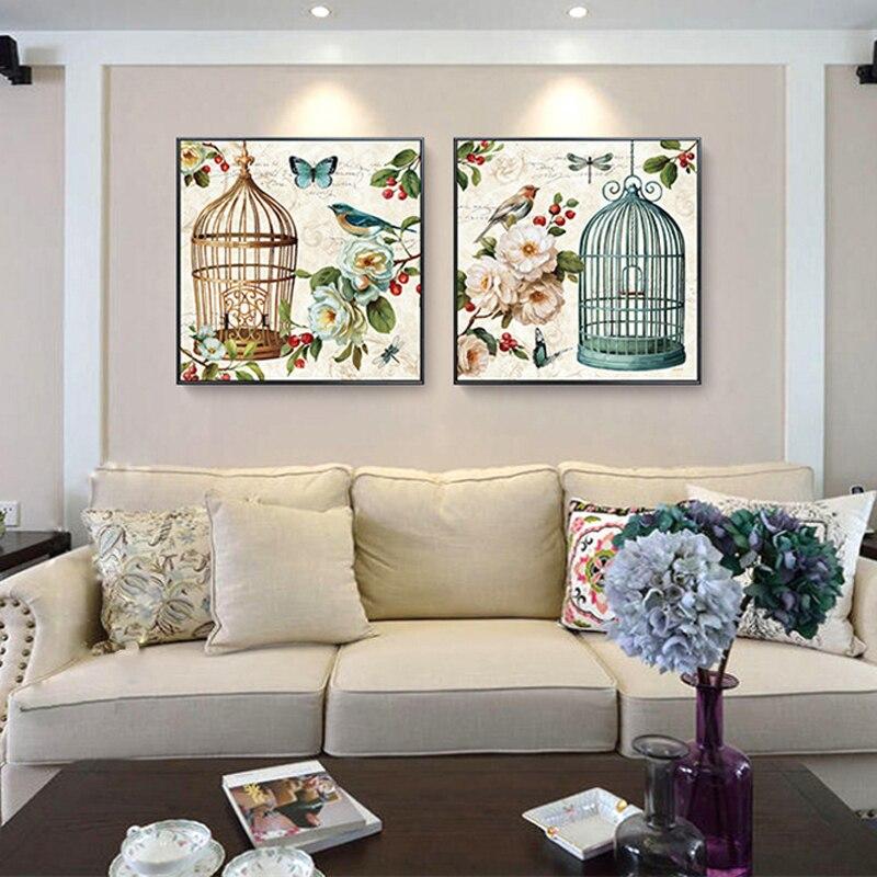 Haochu Европа сад пейзаж холст картина бабочка клетка цветок ретро великолепный плакат для Гостиная украшения