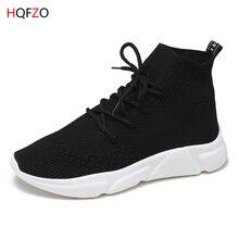 HQFZO 2019 New Women Sneakers Breathable Stretch Knitting Socks Shoes Platform Elastic Tenis Feminino Casual Mujer Black White