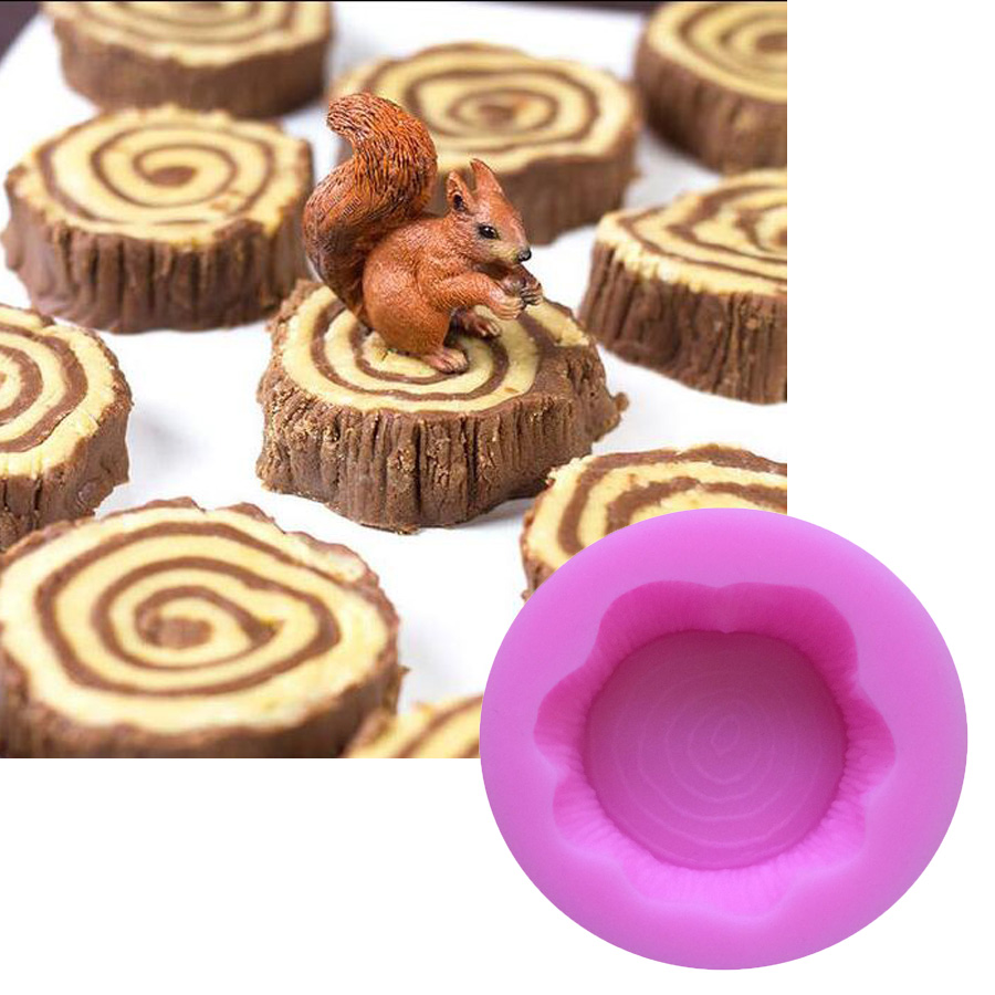 1PCS Stump  Shape Food Grade Silicone Cake Tools, For Cupcake, Jelly, Chocolate, Candy Bakeware Decorating M104