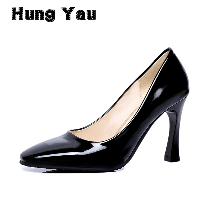 Hung Yau Women High Thick Heels Classic Pumps PU Leather Sapato Feminine Shallow Square Toe Spring Elegant Casual Shoes Size 8 spring summer sexy nightclub shallow mouth thin high heels pu leather buckle square toe pumps shoes fashion elegant silver pumps