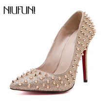 NIUFUNI 2020 Summer Rivet Pointed Thin High Heels Fine with Shallow Mouth Shoes Party Wedding Dress Shoes Women cinderella slipper shallow mouth high heels bridal shoes diamond wedding shoes fine with pointed shoes