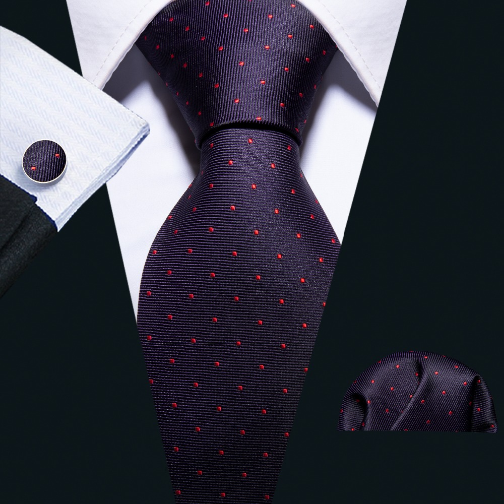 2018 Fashion Purple Polka Dot 100% Silk Tie Barry.Wang Gift Woven Neck Tie For Men Party Business Wedding Free Shipping FA-5092