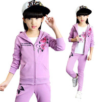 Girls 3pcs Clothing Set Children Tracksuit Hoodies+Tee Shirt+Pants Kids Floral Printing Solid Pink Violet Sport Jacket Outerwear