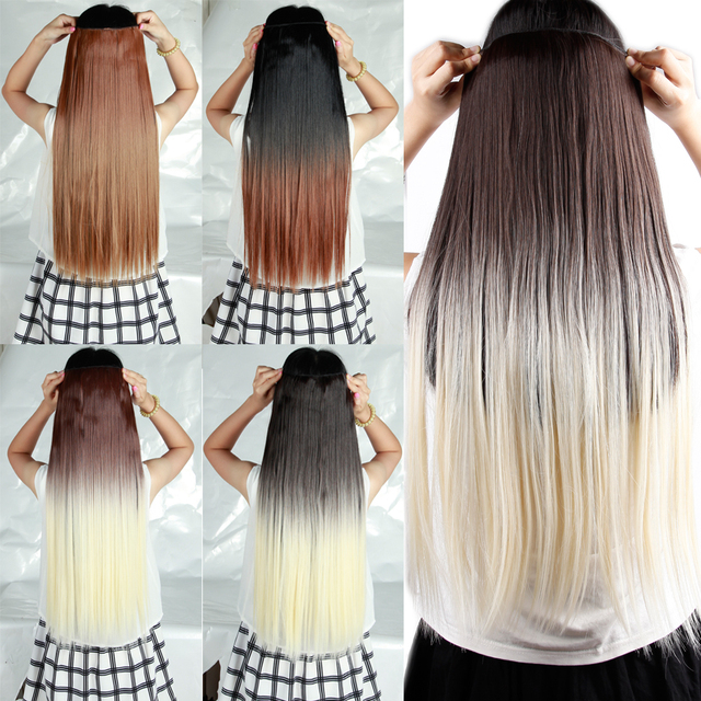 long dip dye clip in hair extensions 25 inches 63cm straight black Dirty Blonde Extensions Light Blonde Hair Extensions