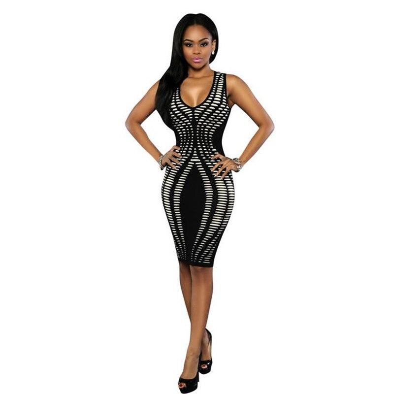Women Sexy Party Night Club Dresses Fashion V-neck Sleeveless Print Slim Sheath Tank Dress Bodycon 2019 Novelty Lady Dress