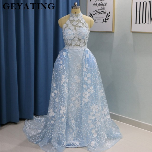 Sky Blue 3D Embroidery Flora Arabic Evening Dress with Detachable ...