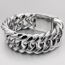 2014 New Wide Heavy Solid Curb Cuban 316L Stainless Steel Bracelet for Men Wholesale Free Shipping Popular