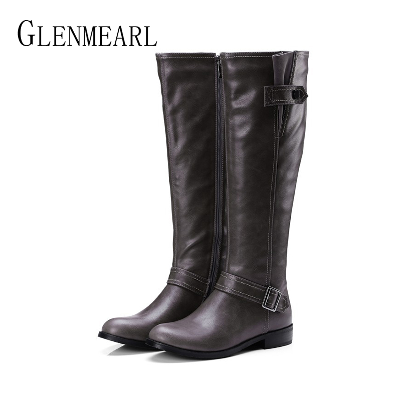 Women High Boots Winter Warm Shoes Female Thick Heel Round Toe Ladies Shoe Fashion Platform Party Boot Woman New Buckle Strap DE winter female woman round high engraving heel mid high rhinestone crystal buckle black real leather boots pointed toe shoe 1118