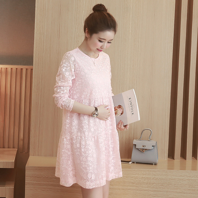 Maternity Clothes New Autumn Winter Fashion Solid Color Lace Loose Plus Size Fashion Brief Dress Women Clothes for Pregnant