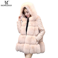 2017 Winter New Women Artificial Fur Coat Hooded Patchwork Fox Fur Thick Warm Fur Coat Faux Fur Vest Removable Sleeves PC213
