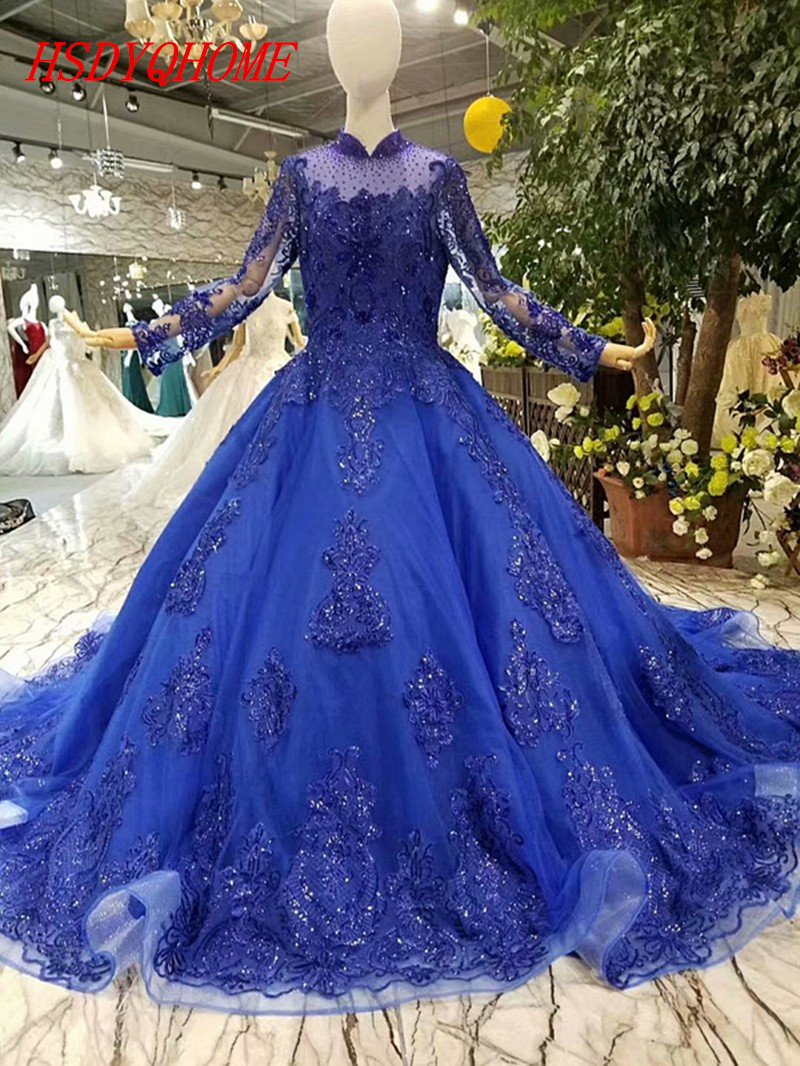 HSDYQHOME Amazing Royal Blue Evening dresses 2018 Luxury Prom Dresses Ball gown Vestidos Long Sleeve Evening party gown