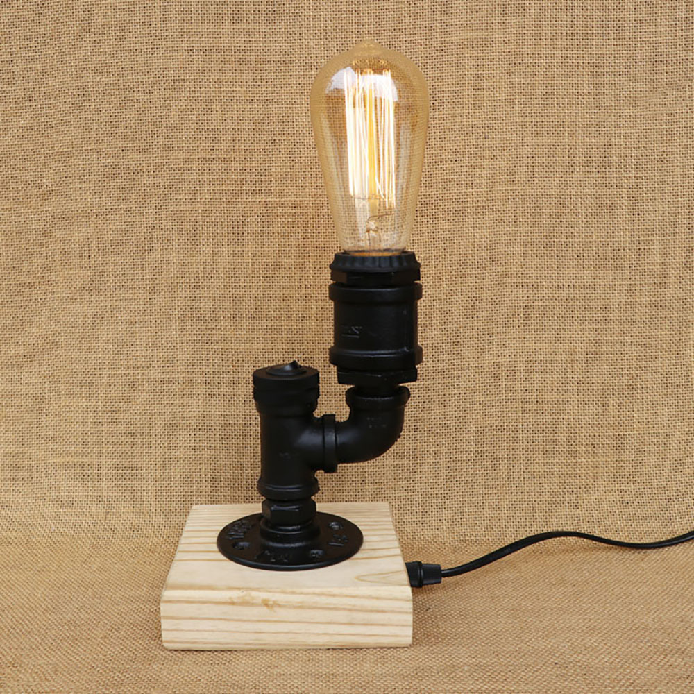 Black Vintage workroom wood water pipe steam punk table lamp with switch e27 / e26 led lights for bedroom bedside office study zipower pm 4114