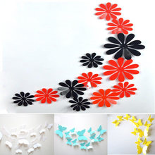 12pcs DIY 3D solid color butterfly flower wall stickers home decoration stickers Wallpaper Decorative Special Festivel wholesale(China)