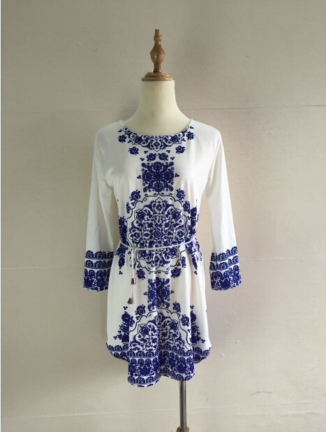 Godier New Summer Style White Blue Porcelain Long Sleeve Loose Casual Mini  Keyhole Back Hem Tile Prints Dress-in Dresses from Women s Clothing on ... efe84dabe082