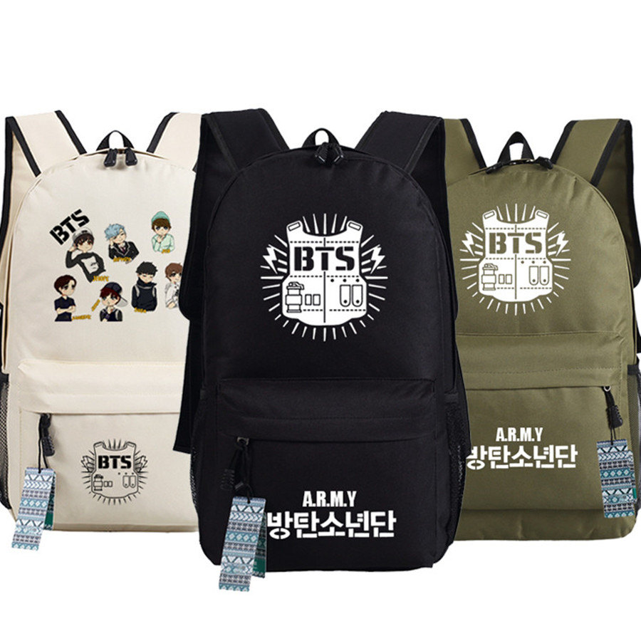 Unisex Bts Bangtan Boys Wings Printing Canvas Backpack School Book Fans Bag 45x32x13cm