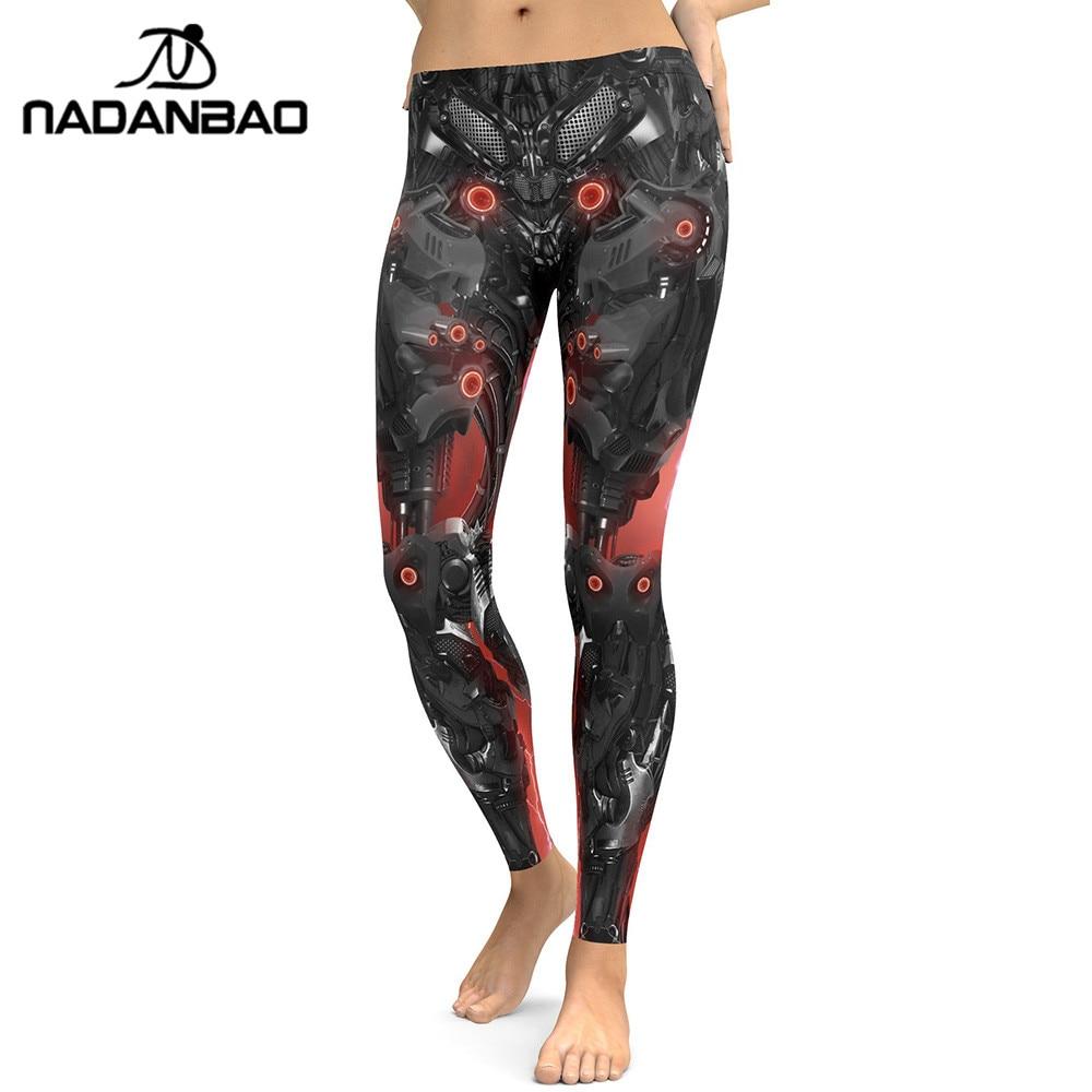 NADANBAO New Style Leggings Women Mechanical 3D Digital Printing Fitness Legging Cool Robot Leggins High Waist Trousers Pants