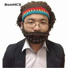 BomHCS Halloween Funny Beggar Hat Handmade Crochet Knitting Wig Mask Beanie Beard Caps