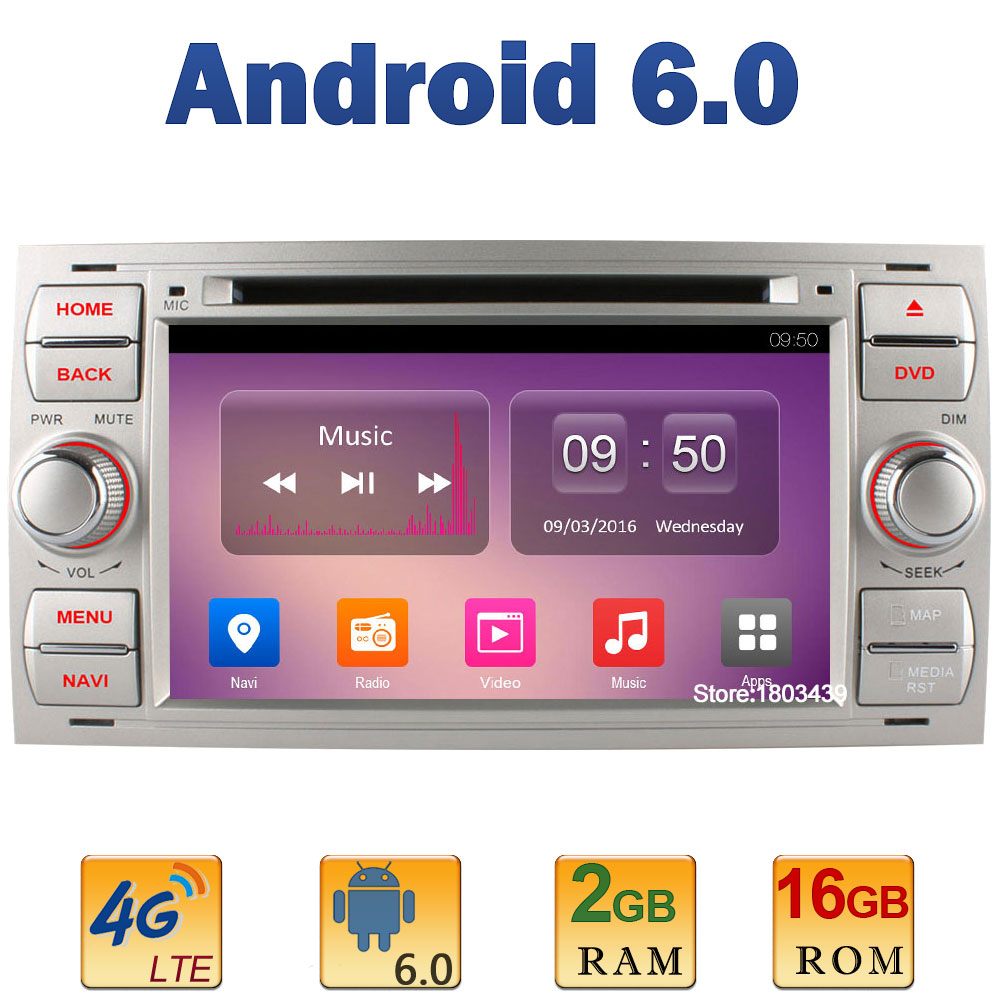 7 Quad Core 2GB RAM 4G LTE SIM WIFI Android 6.0 Car DVD Player Radio Stereo For Ford Focus Mondeo Transit C-MAX GPS+AUX DAB BT