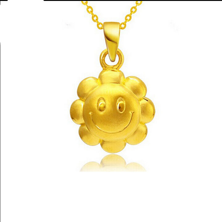 Best Gift 24K Yellow Gold Pendant / 3D Sunflower Smile PendantBest Gift 24K Yellow Gold Pendant / 3D Sunflower Smile Pendant