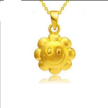 Best Gift 24K Yellow Gold Pendant / 3D Sunflower Smile Pendant