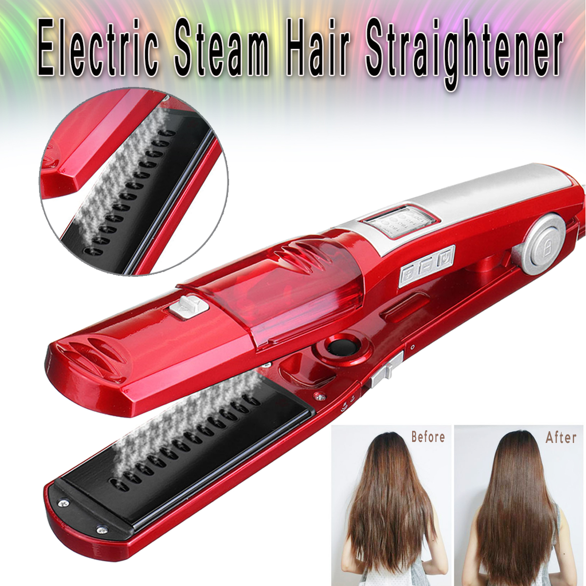 Professional Ceramic Steam Hair Straightener Brush Flat Iron Wet Dry Style Hair Straightener Iron professional electric hair straightener plat iron anion steaming dry wet use hair straightner curler styling tool