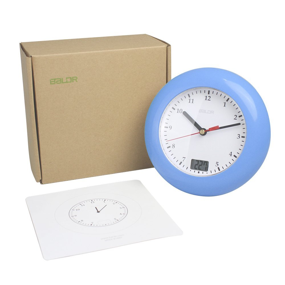 Clocks for bathroom wall - Aliexpress Com Buy Baldr Waterproof Analog Bathroom Clock Suction Cups Temperature Sensor Digital Thermometer Wall Watch Women Makeup Shower Timer From