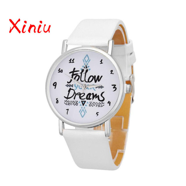 Women Causal Watches Female Ladies Follow Your Dreams Printed Pu Leather Watch Q