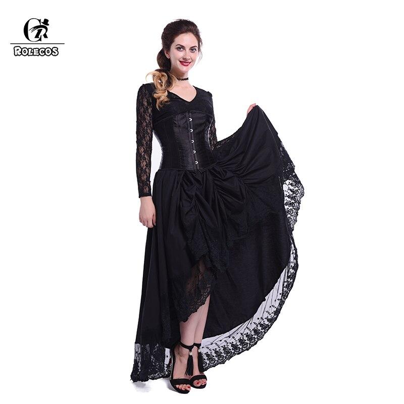 Rolecos 2017 Hot Sale Womens Black Punk Gothic Dresses -2586
