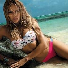 Hirigin Flower Bikinis Set Strapless Women Swimwear Pushed Ups Paded Swimsuits Mid Waist Bathing Suits Beachwear
