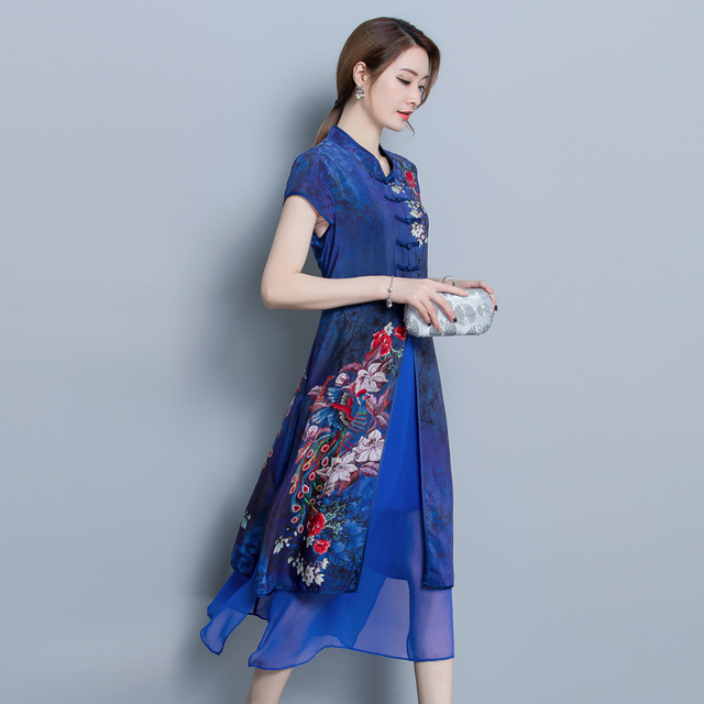 Vintage Women High Quality Chiffon Print Calf Length Dress Luxury Short Sleeve Split Patchwork Loose Large Size Summer New 2018 3