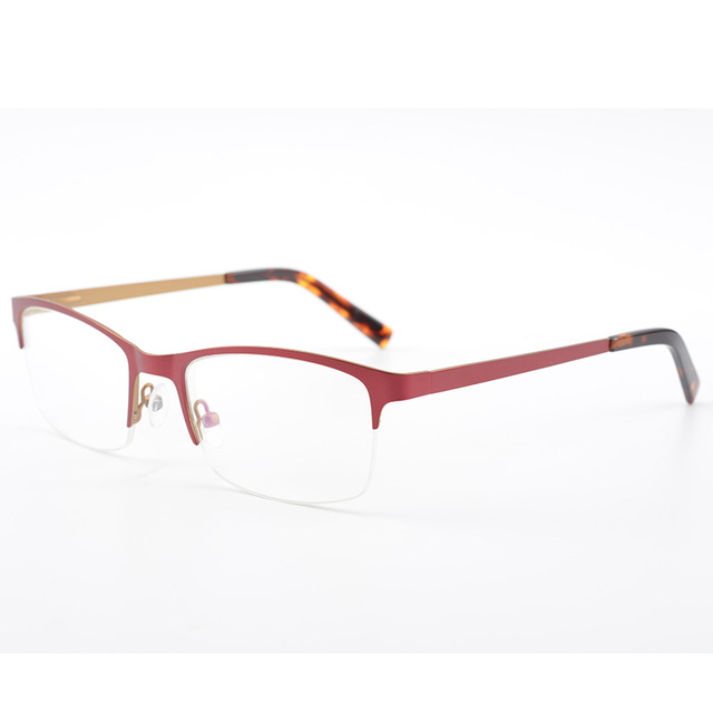 Fashion Metal Red Half Rim Eyeglasses Optical Glasses Frames Glasses ...