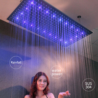 Water Power LED Light Showerheads Rainfall 304 Stainless Steel 600*800mm Shower Head Shower Arms Rain Bathroom Showers Brushed