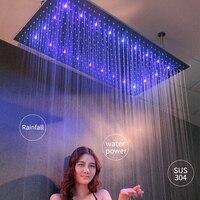 Water Power LED Light Showerheads Rainfall 304 Stainless Steel 600*800mm Shower Head Shower Arms Rain Bathroom Showers Brushed