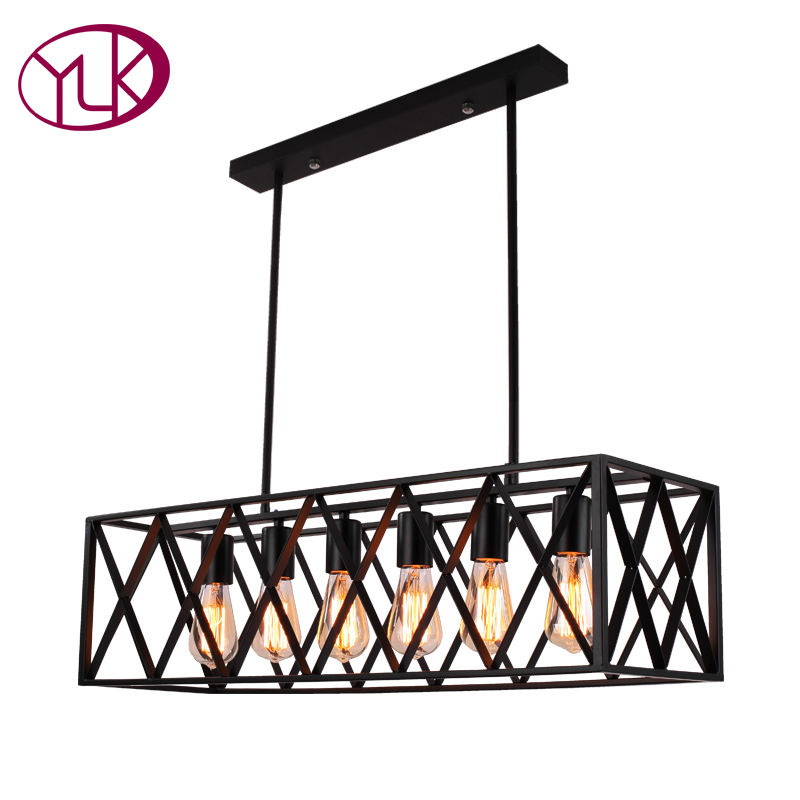 Youlaike Black Rectangle Vintage Pendant Light For Dining Room Industrial Style Hanging Lighting Fixture
