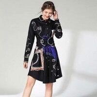 New Women Office Dresses Luxury Printed Shirt Collar Sashes 2019 Designer Retro Aline Dress Ladies Vestido Elegant Party Clothes