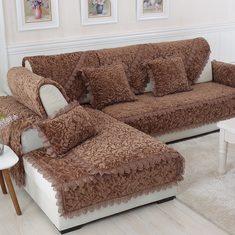 Thick Slip Resistant Couch Cover for Corner Sofa Made with Plush Fabric Including Lace for Living Room Decor