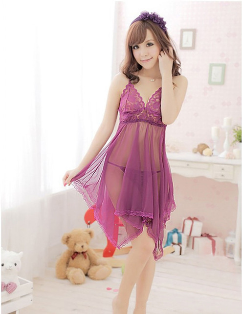 56588c9179 1 Set New Women Nightwear Underwear Dress Sleepwear + G-string Babydoll  Black Red Purple Colors