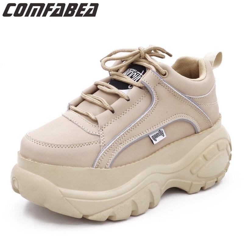 Nouveau 2019 printemps mode femmes chaussures décontractées PU cuir plate-forme chaussures femmes dames blanc abricot Femme chaussures Chaussure Femme