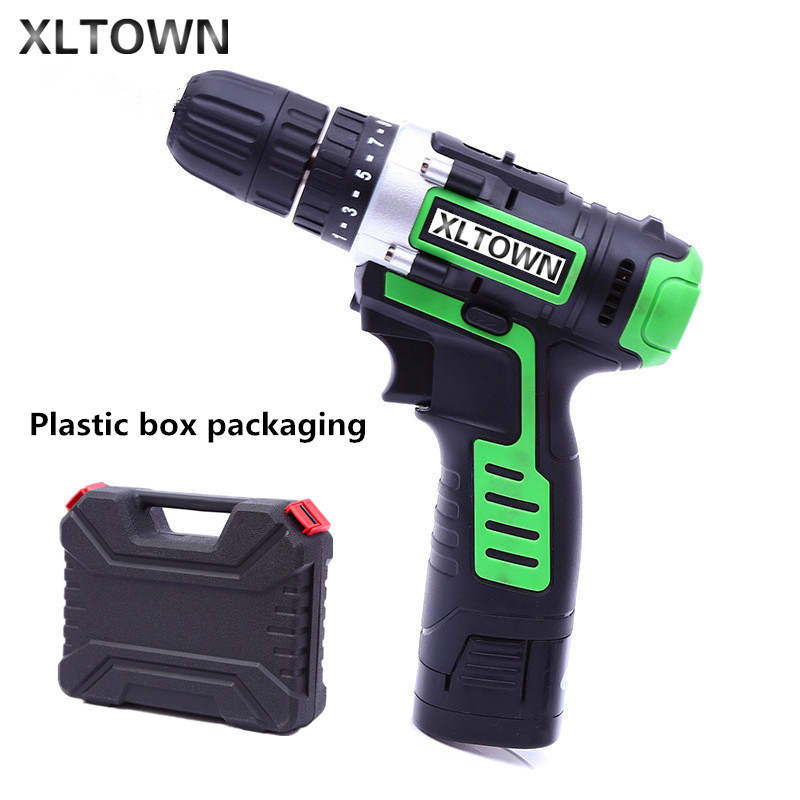 Xltown digital frequency lithium battery rechargeable 16.8v electric screwdriver with a Plastic box Two-speed electric drill replacement rechargeable 3 7v 2000mah lithium battery pack with screwdriver for nintendo 3ds