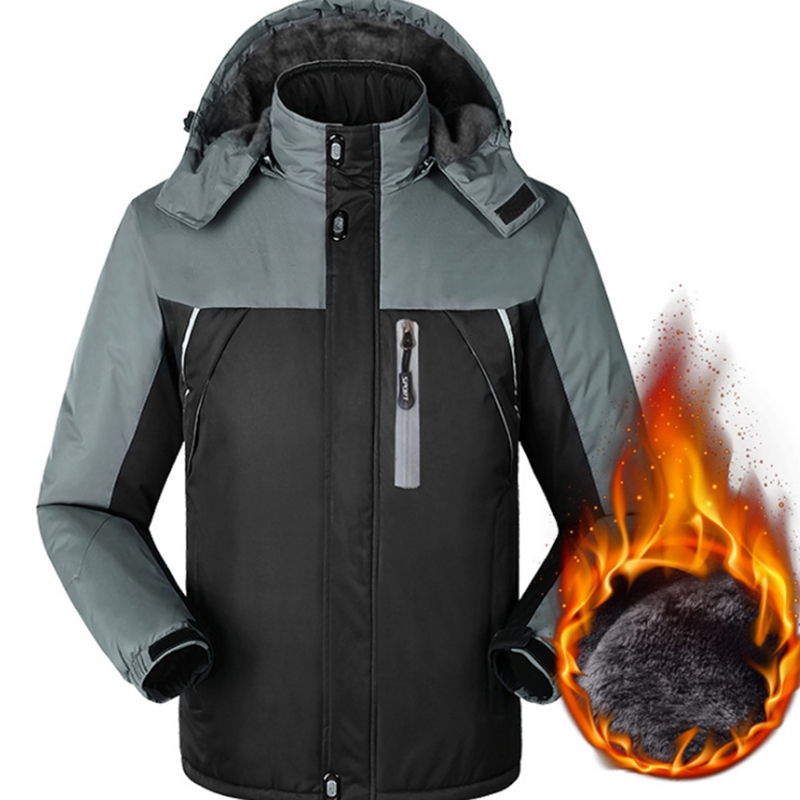 New Winter Warm Inner Fleece Waterproof Windproof Jacket Thick Outerwear Men Hooded Coats Military Jackets Clothes