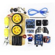 Бесплатная доставка отслеживания Двигатель Смарт робот шасси автомобиля Комплект Скорость кодер Батарея коробка 2WD Ультразвуковой модуль для Arduino DIY Kit