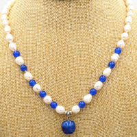 Pretty 7 8mm White Pearl 8MM Blue Sapphire Apple Pendant 12mm Necklace 18 Dongguan Girl Store
