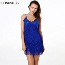 BLINGSTORY alta calidad elegante Bling-Bling Mujer dos lados de flecos de  lentejuelas vestido de Club de baile ropa Drop envío K.. 3cc88f642052