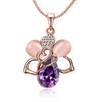 Elegant Women Accessories Wedding Party Jewelry Fashion Lady Girls Flower Luxury Amethyst Opal Necklace Rose Gold