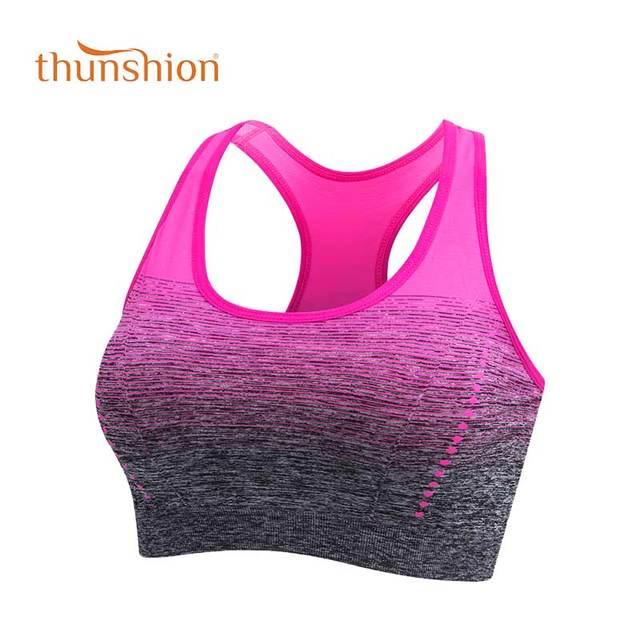 THUNSHION ספורט חזייה גבוהה למתוח לנשימה למעלה כושר נשים מרופד עבור ריצה יוגה כושר חלק יבול חזיית שיפוע ספורט חזייה