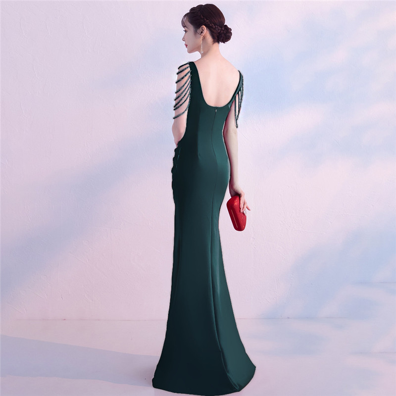 It's Yiiya Party Gowns Sleeveless V-neck Elegant green Evening dresses Beading Floor-length Zipper back trumpet Prom dress C130