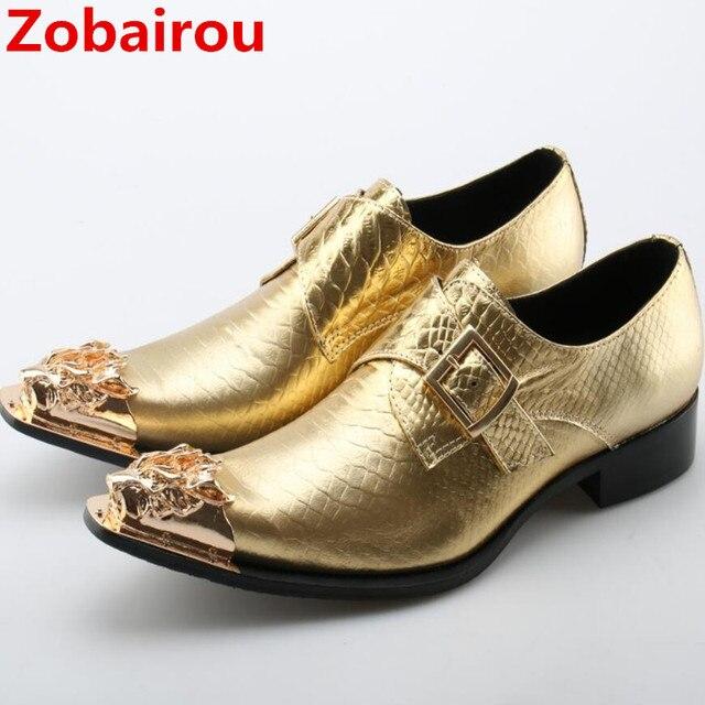 fc42b0103 Sapato social Zobairou ouro slipon dos homens se vestem sapatos 2017 couro  de patente de luxo