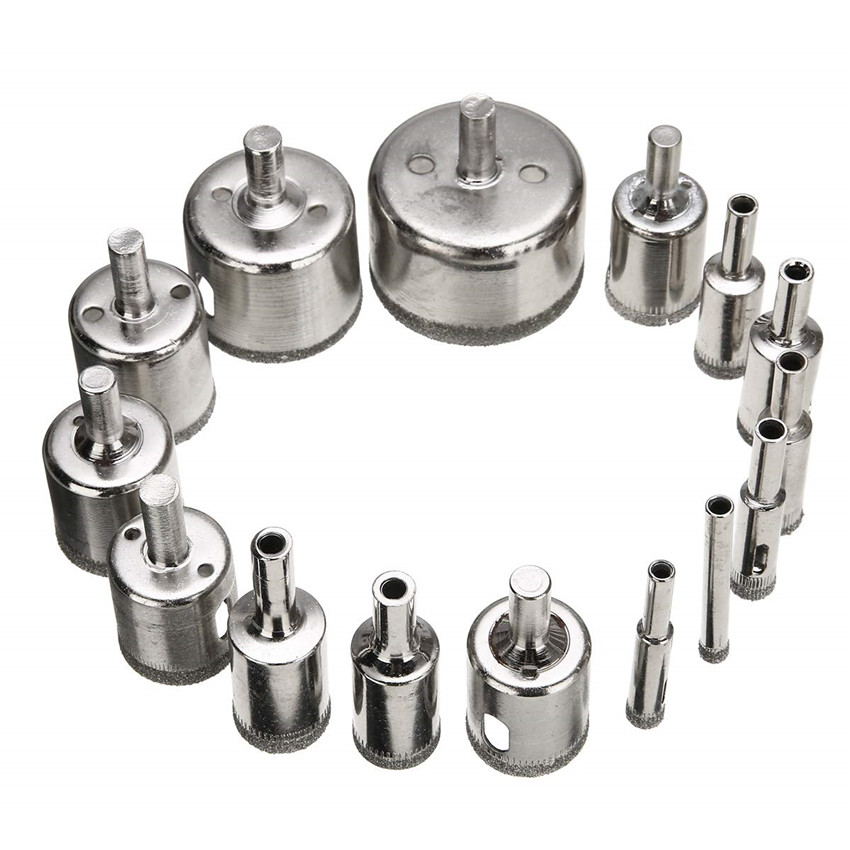 15pcs 6mm-50mm Diamond Coated Drill Bit Set Tile Marble Glass Ceramic Hole Saw Drilling Bits For Power Tools TP-0219