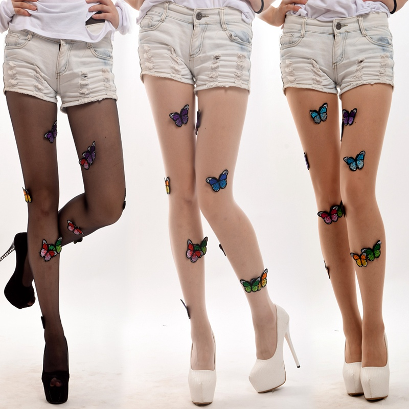 Lolita Girls Butterfly Pattern Transparent Sheer Pantyhose Tights Sexy Stockings